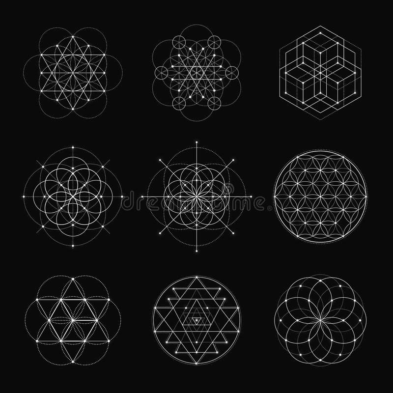Elementos sagrados del diseño del vector de la geometría stock de ilustración