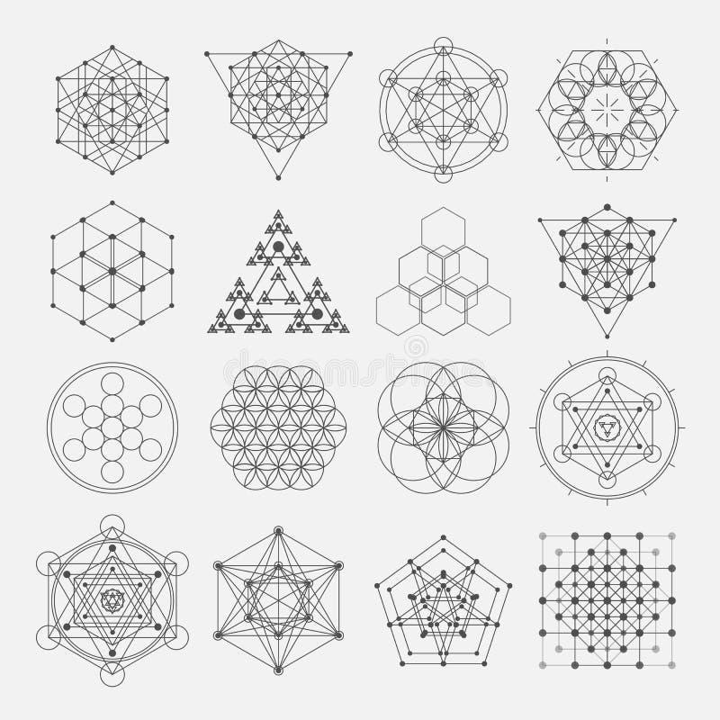 Elementos sagrados del diseño del vector de la geometría alquimia stock de ilustración