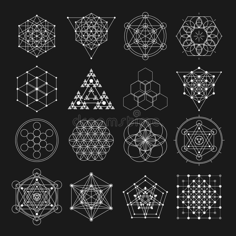 Elementos sagrados del diseño del vector de la geometría Alquimia, religión, filosofía, espiritualidad, símbolos del inconformist stock de ilustración