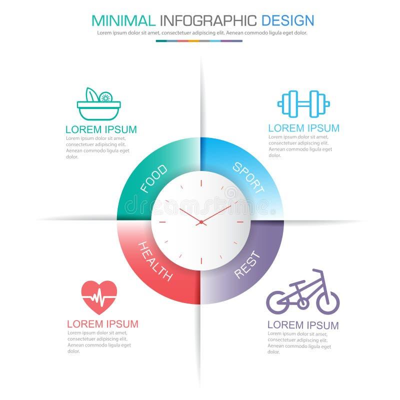 elementos sanos de Infographic con la comida y proceso del plan del ejercicio o pasos y diagramas del flujo de trabajo de las opc ilustración del vector