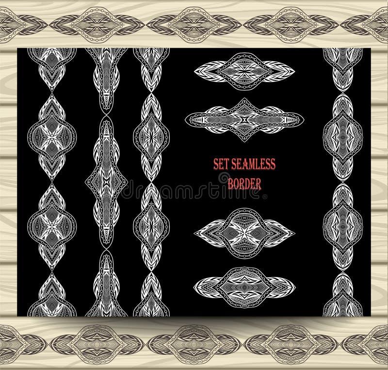 Elementos sem emenda ajustados da decoração das fitas do laço da beira brancos no preto ilustração stock