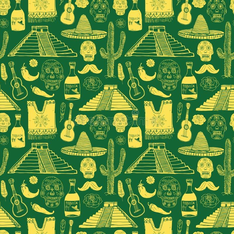 Elementos sem emenda da garatuja do teste padrão de México, chapéu do sombreiro do esboço, poncho, cacto e garrafa tradicionais m ilustração royalty free