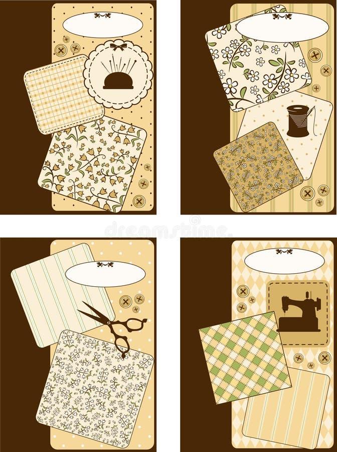 Elementos sewing do vintage ilustração do vetor