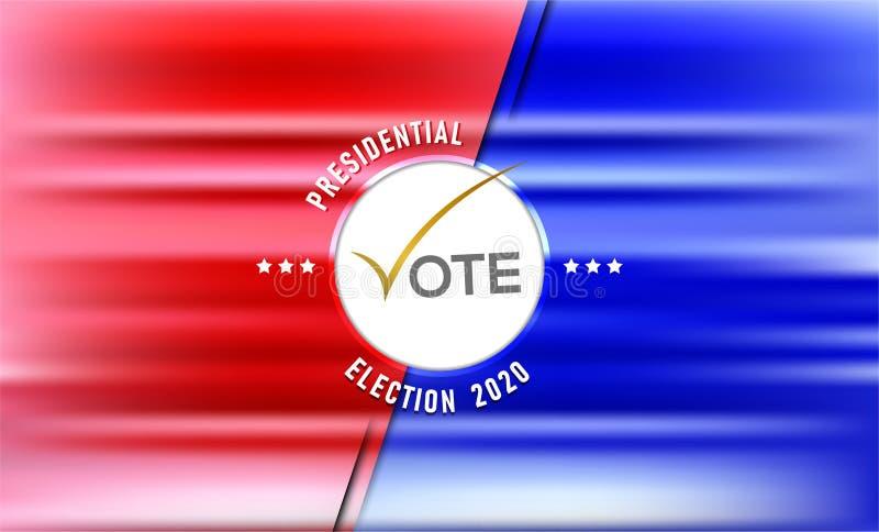 Elementos simbólicos del día de elección rojos y fondo azul ilustración del vector