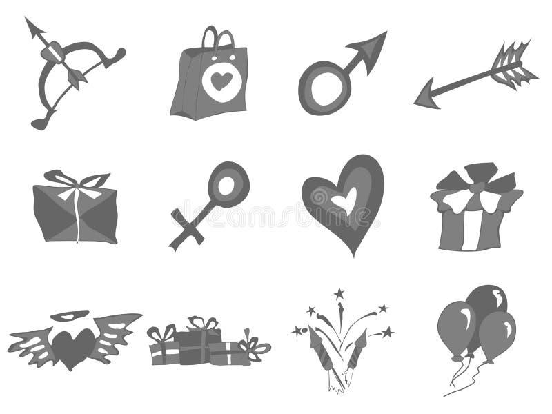 Elementos simples en el corazón y otros de día de San Valentín stock de ilustración