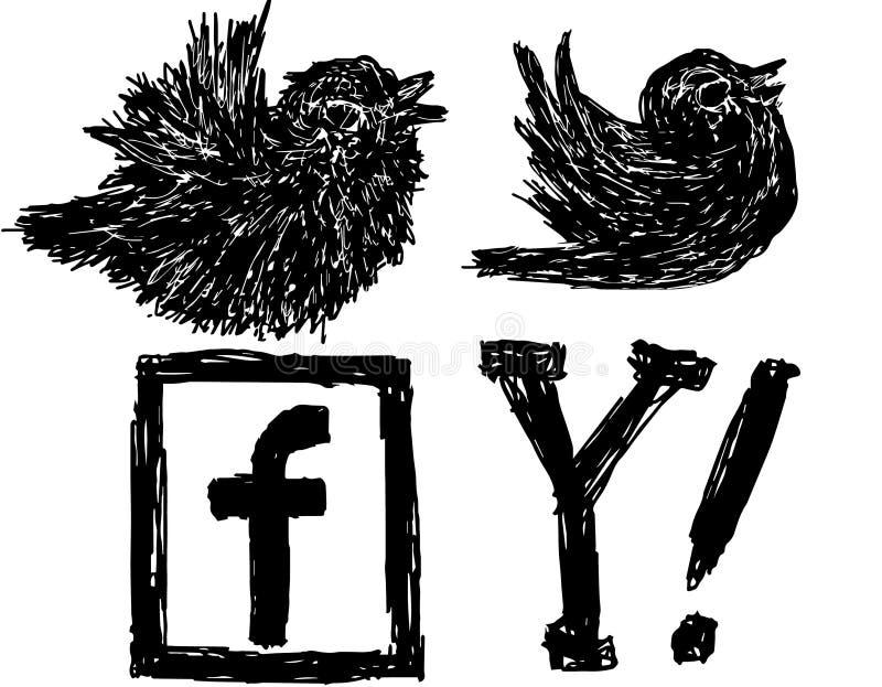 Elementos sociais esboçados dos meios ilustração stock