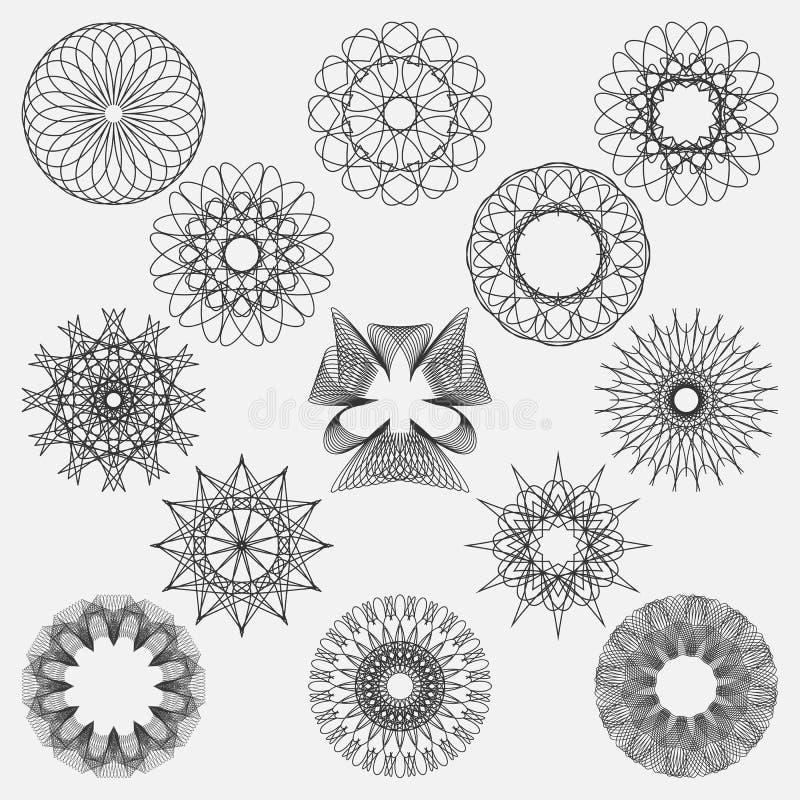 Elementos spirographic ajustados Aperfeiçoe para moldes do projeto ilustração royalty free