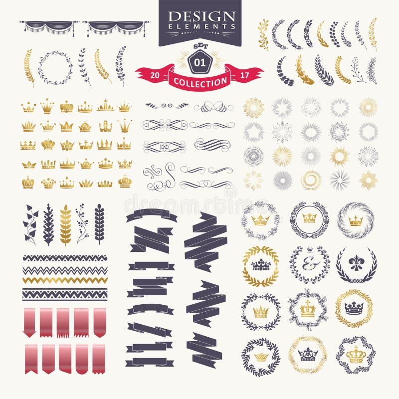 Elementos superiores del diseño Grande para los logotipos retros del vintage ilustración del vector