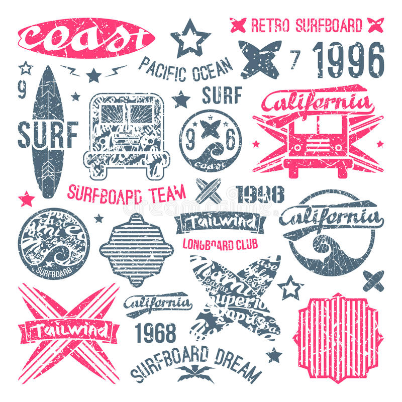 Elementos surfando do emblema e do projeto ilustração royalty free