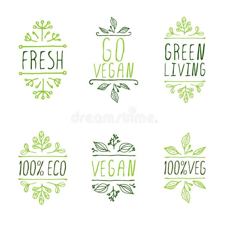 elementos tipográficos Mão-esboçados Etiquetas do produto do vegetariano ilustração do vetor
