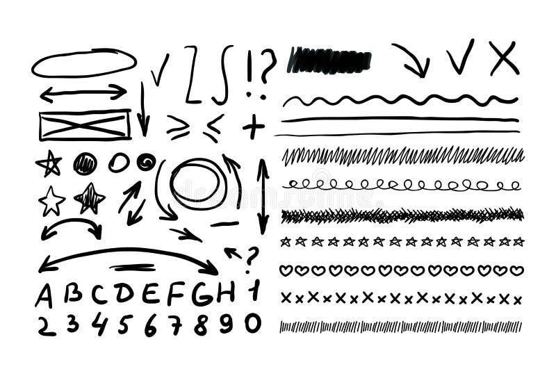 Elementos tirados do vetor mão abstrata, setas, marcas da correção ilustração royalty free