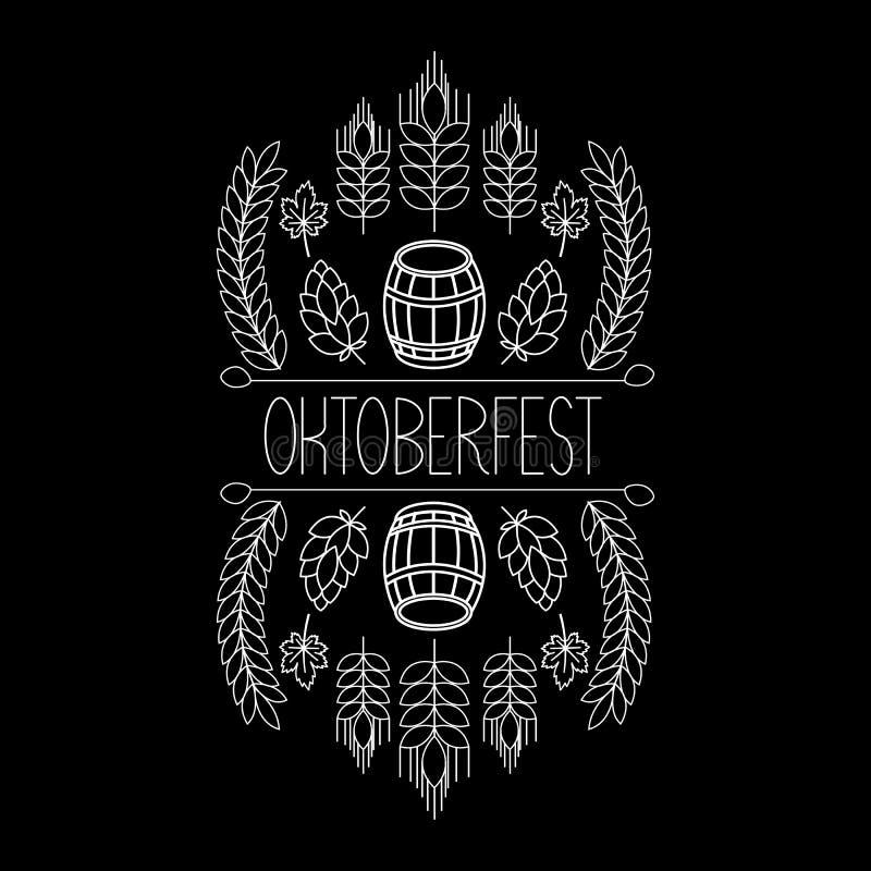 Elementos tirados mão da etiqueta de Oktoberfest Em um fundo preto ilustração stock