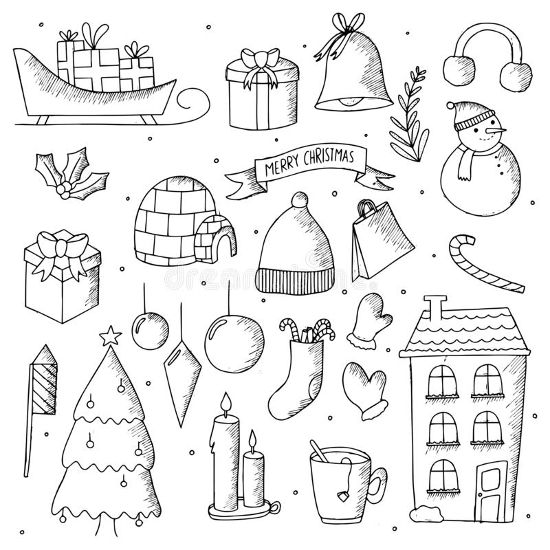 Elementos tirados mão da garatuja do Natal Garatujas esboçados feitos a mão bonitos do inverno ilustração do vetor