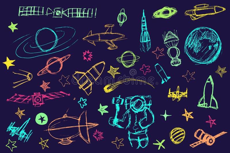 Elementos tirados mão do espaço ilustração royalty free