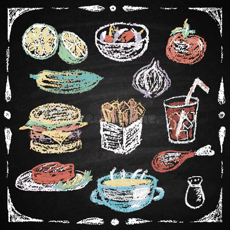 Elementos tirados mão do menu do restaurante. ilustração stock
