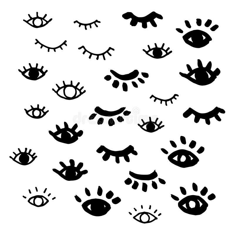 Elementos tirados mão do projeto do vetor dos olhos ilustração royalty free