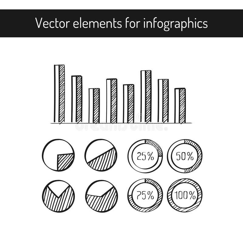 Elementos tirados mão do vetor para o diagrama o infographics ou o relatório comercial wriiten à disposição o estilo elementos pr ilustração stock