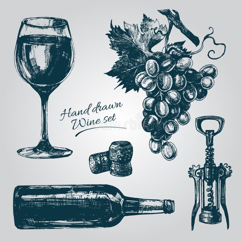 Elementos tirados mão do vinho ilustração stock