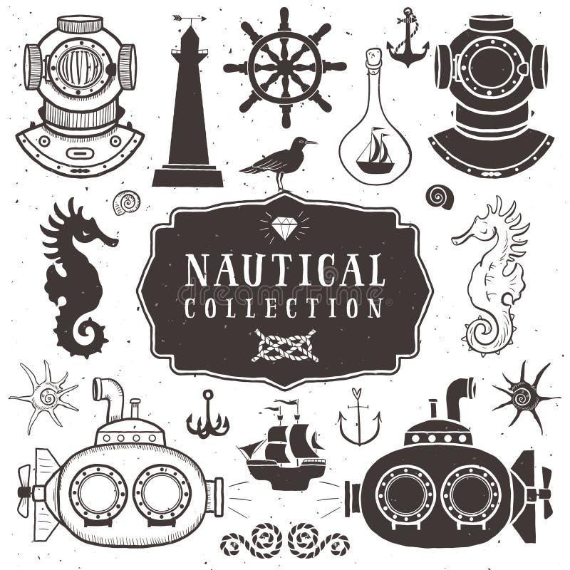 Elementos tirados mão do vintage no estilo náutico vol 2 ilustração royalty free