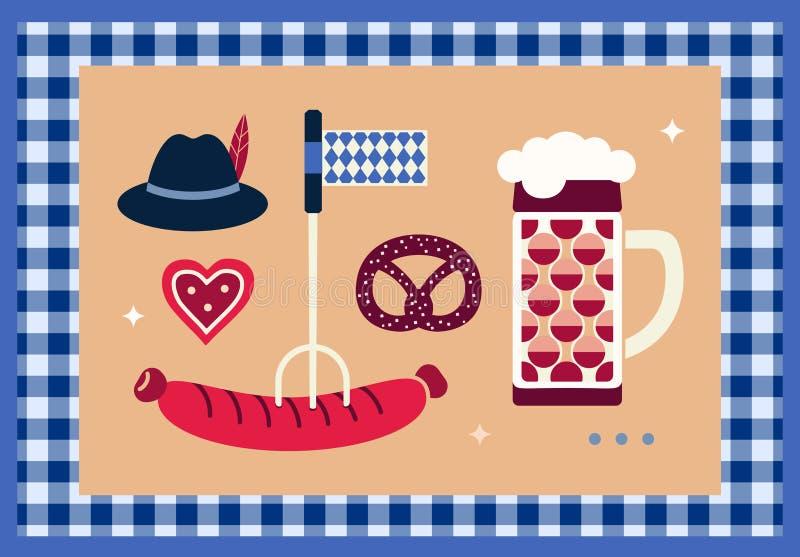 Elementos tirados m?o do projeto de Oktoberfest ilustração stock