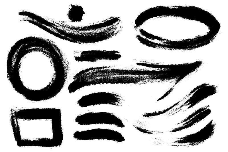 Elementos tirados m?o do projeto do vetor A escova da tinta tirada nota como a seta, os cursos, as ondas, os pontos e várias form ilustração stock