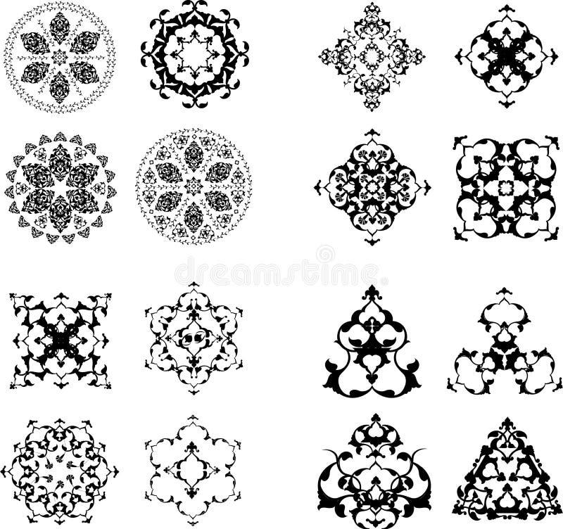 Elementos tradicionales del diseño del turco del otomano stock de ilustración