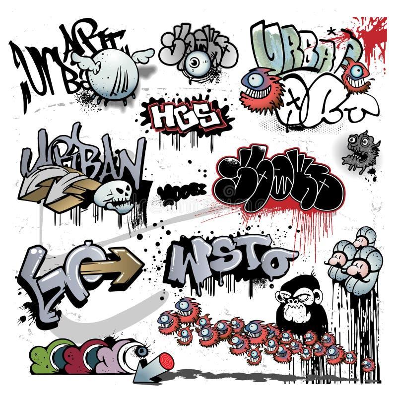 Elementos urbanos da arte dos grafittis ilustração royalty free