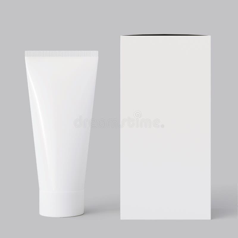 Elementos vazios da identificação do tipo, cosmético ou tubo de creme da droga com uma caixa de cartão, isolada no cinza rendição ilustração do vetor
