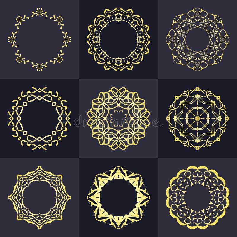Elementos vazios do projeto do monograma, molde gracioso Linha elegante projeto do logotipo da arte emblema Insígnias retros do v ilustração do vetor