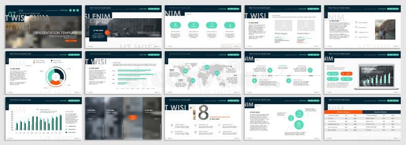 Elementos verdes de las plantillas de la presentación en un fondo blanco Infographics del vector libre illustration