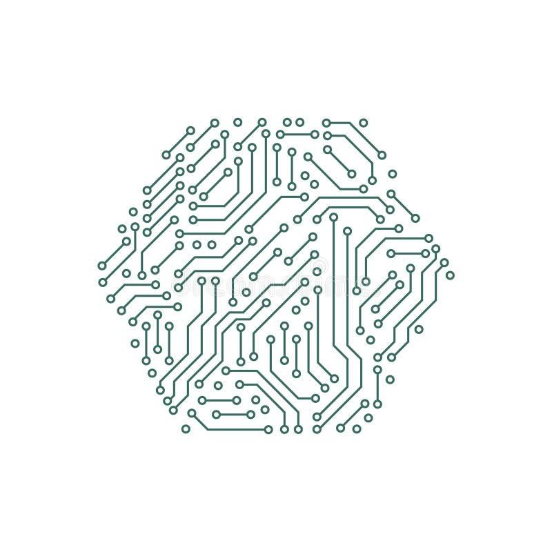 Elementos verdes e brancos da placa de circuito impresso da informática em uma forma encantar, vetor ilustração stock