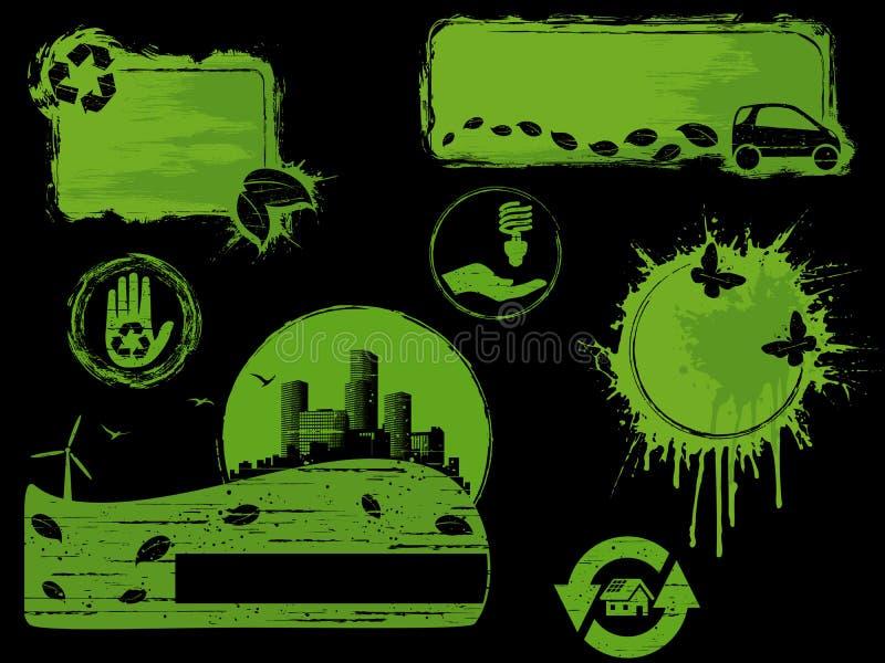 Elementos verdes e pretos do projeto do eco do grunge ilustração royalty free