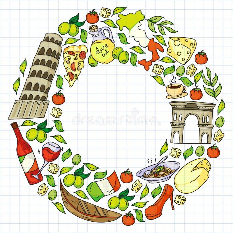 Elementos vetoriais e ícones da Itália Padrão de rabo com cultura italiana, cidades Roma, Veneza, Milão, queijo, vinho ilustração stock