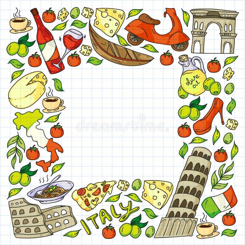 Elementos vetoriais e ícones da Itália Padrão de rabo com cultura italiana, cidades Roma, Veneza, Milão, queijo, vinho ilustração do vetor