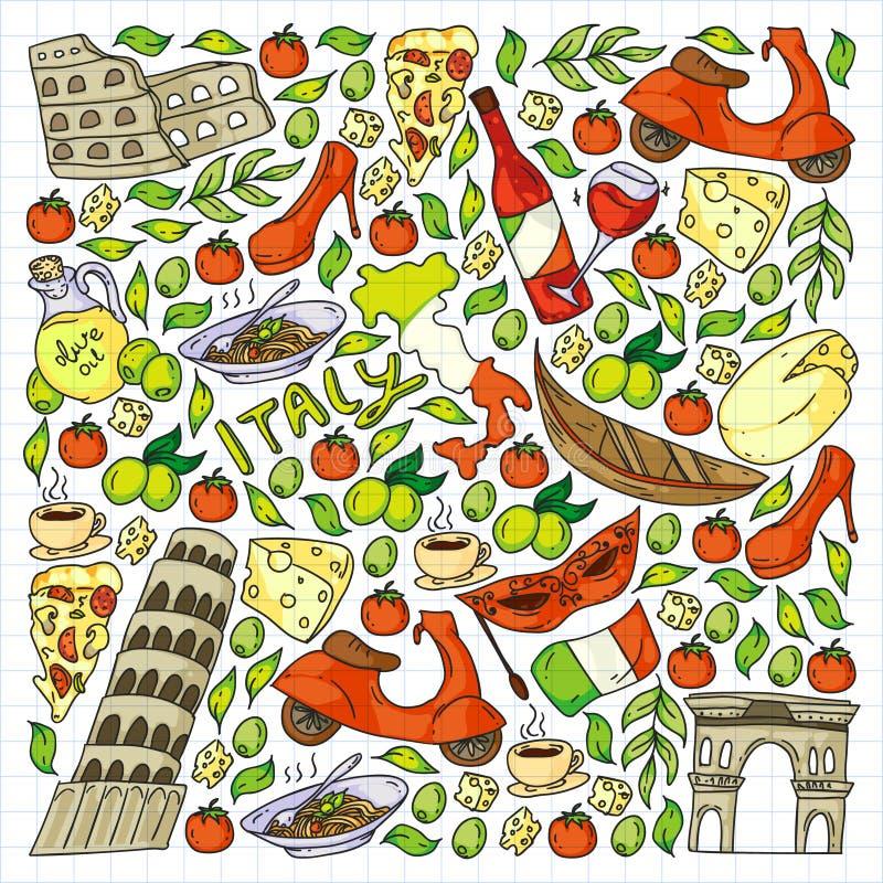 Elementos vetoriais e ícones da Itália Padrão de rabo com cultura italiana, cidades Roma, Veneza, Milão, queijo, vinho ilustração royalty free