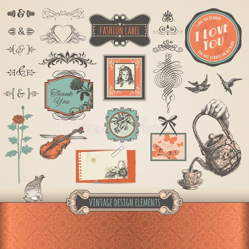 Elementos y escrituras de la etiqueta de la vendimia libre illustration