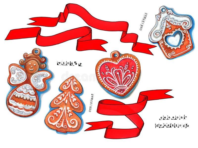 Elementos y galletas de la decoración del invierno, mano dibujada ilustración del vector