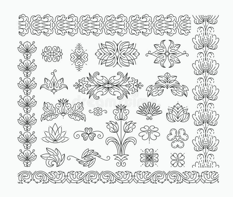 Elementos y línea decorativos florales cepillos del diseño imagen de archivo libre de regalías