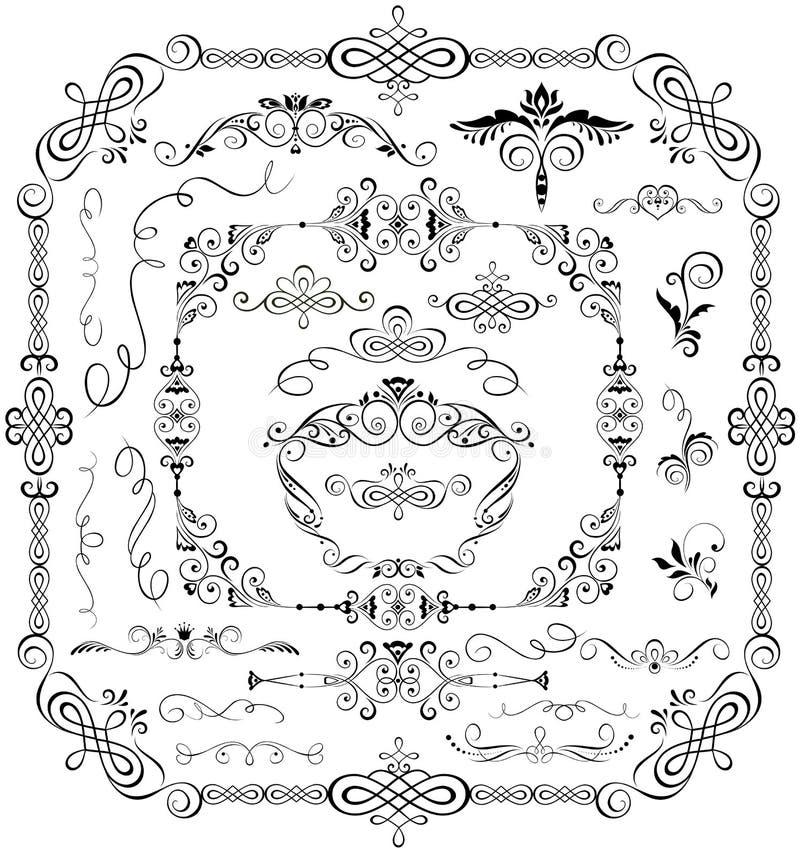Elementos y marcos del diseño del vintage stock de ilustración