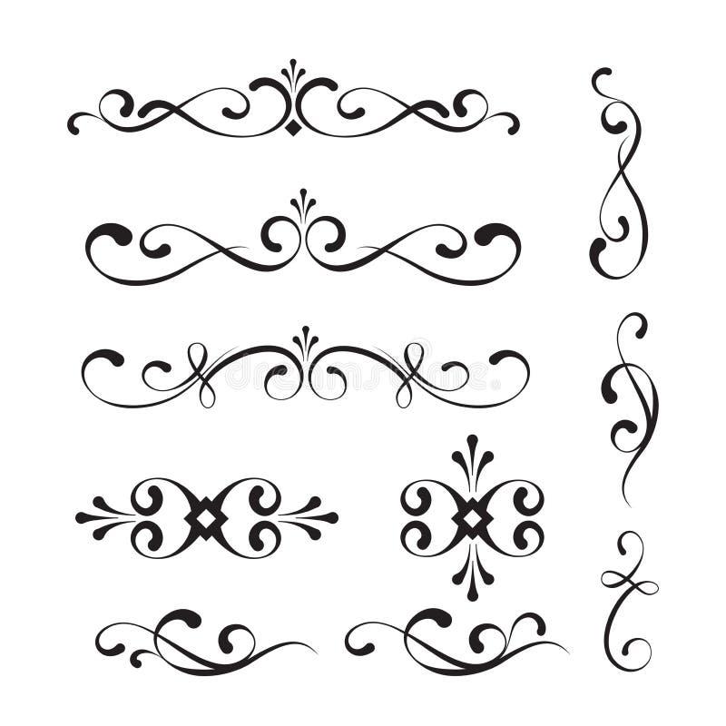 Elementos y ornamentos decorativos ilustración del vector