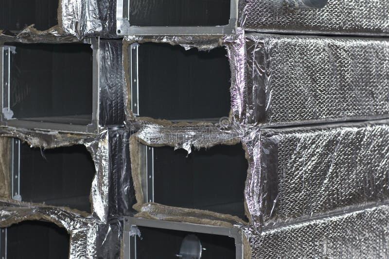 Elementos y piezas hechos de la hoja galvanizada para los diversos sistemas de ventilaci?n fotos de archivo libres de regalías