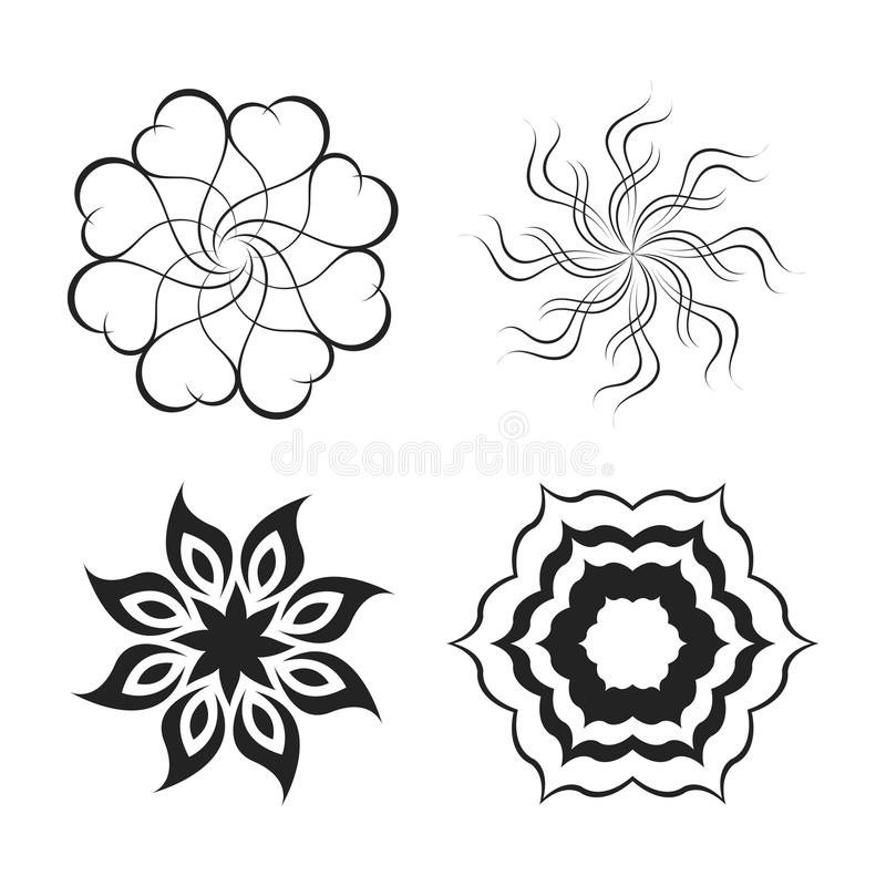 Elements - abstract flower and star stock illustration