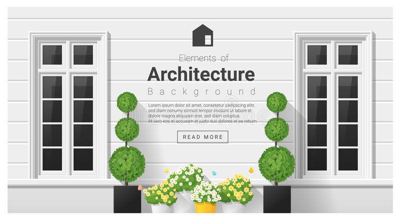 Elements of architecture , window background. Vector ,illustration royalty free illustration