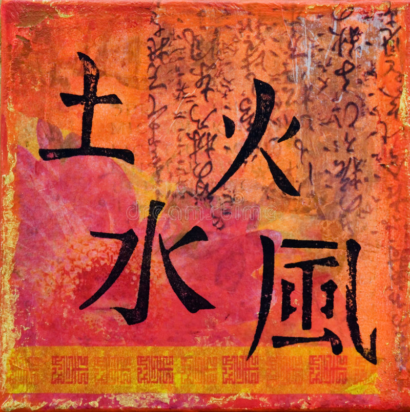 Elements artwork. Collage painting with chinese symbols for earth, wind, fire, water