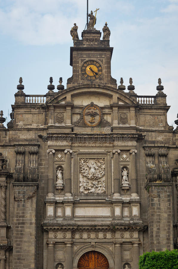 Elements of beautiful Cathedral on Zocalo, Mexico City. Elements of Cathedral on Zocalo, Mexico City, Mexico stock photo