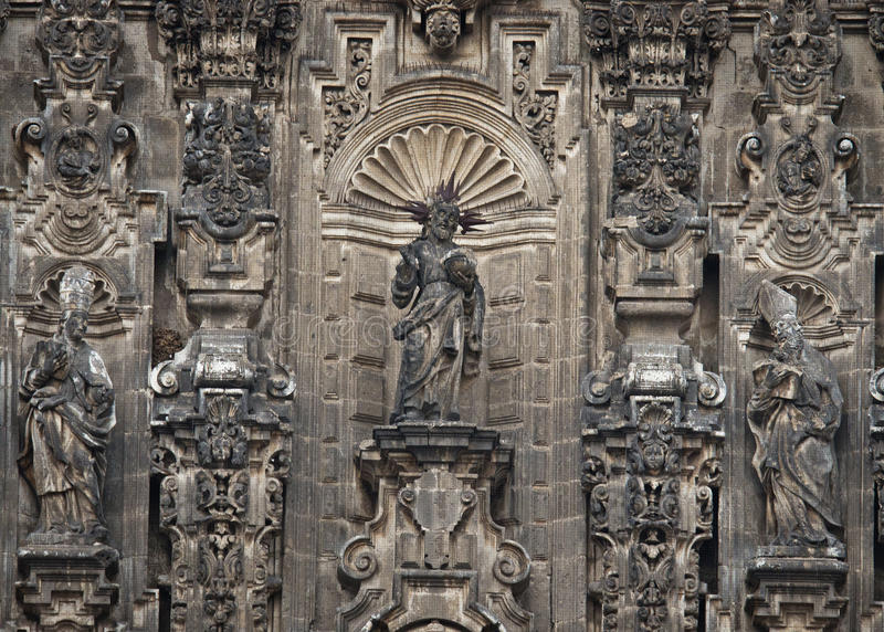 Elements of Cathedral on Zocalo, Mexico City. Mexico royalty free stock images