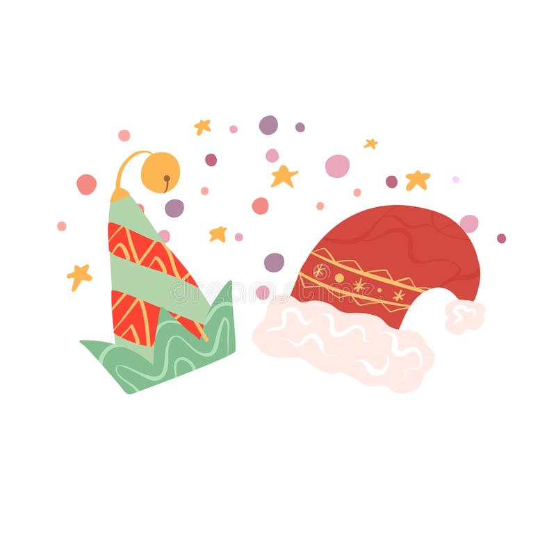 Elements of Christmas and New Year. Flat elf and Santa claus hats on stars and confetti background. Vector illustration. For postcards, stickers, print, gift stock illustration