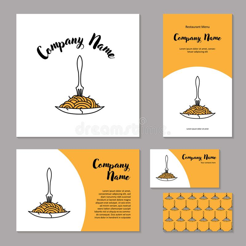 Corporate branding Fork in plate with spaghetti stock illustration