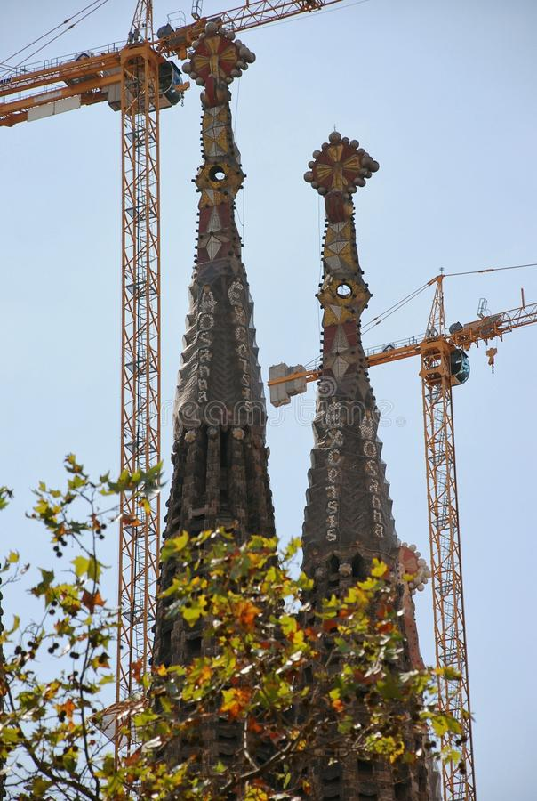Elements and details Sagrada Familia in Barcelona royalty free stock photos