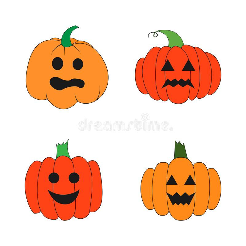 Vector set of various drawn pumpkins with carved faces isolated on white background. stock illustration